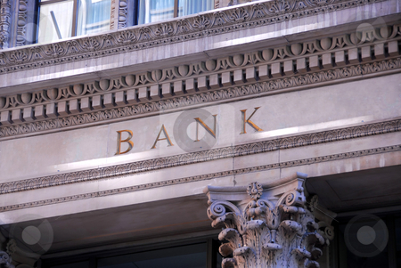 Bank building stock photo, Old building with letters bank on it by Elena Elisseeva