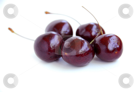 Fresh cherries stock photo, Fresh cherries on white background by Elena Elisseeva