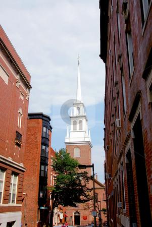 Old North Church in Boston stock photo, Steeple of Old North Church in Boston historical North End by Elena Elisseeva