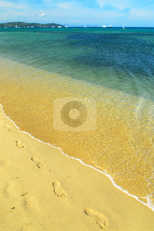 Mediterranean beach stock photo, Footprints on the golden sand of Pampelonne beach near St. Tropez in French Riviera by Elena Elisseeva