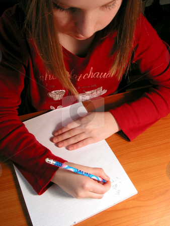 Girl study homework stock photo, Young girl studying, homework by Elena Elisseeva
