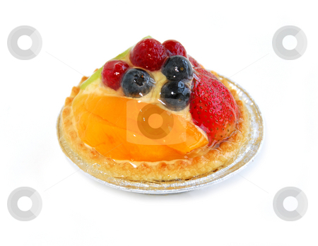Fruit tart stock photo, Fruit tart isolated on white background by Elena Elisseeva