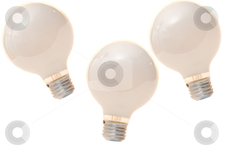 Isolated Light Bulb stock photo, Three light bulbs isolated on a white background by Richard Nelson