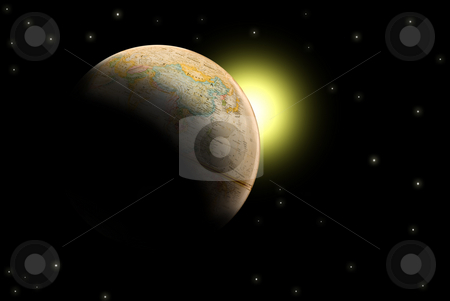 Earth stock photo, A model of the planet earth partially lit by the sun by Richard Nelson