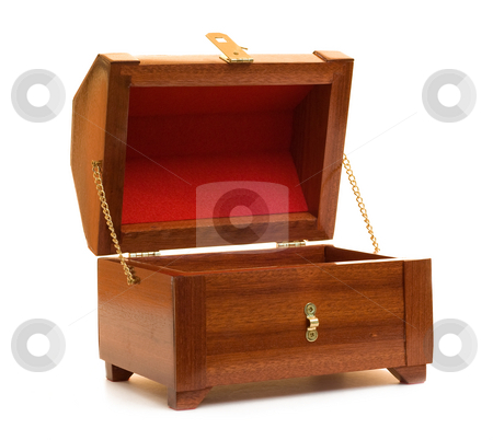 Wooden Jewelry Box stock photo, A beautiful wooden jewelry box sitting open, isolated against a white background by Richard Nelson