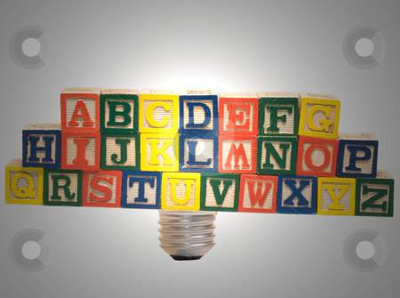 Learning stock photo, The letters of the alphabet in place of a glass filament of a lightbulb by Richard Nelson