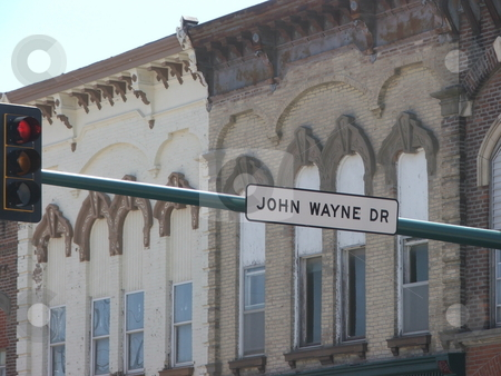 John Wayne Ave. stock photo, Winterset, Iowa is the birthplace of John Wayne and aptly has a street named for its most famous personage. by Dennis Thomsen