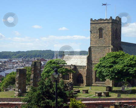 Saint Marys Church Scarborough stock photo, Saint Marys Church and graveyard, Scarborough, England. by Martin Crowdy