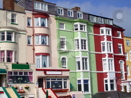 Bed and Breakfast hotels stock photo, Traditional style bed and breakfast hotels in seaside resort of Scarborough, England. by Martin Crowdy