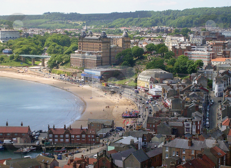 South bay beach Scarborough stock photo, Old town and south bay beach in resort of Scarborough, England. by Martin Crowdy