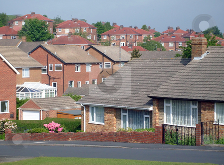 Typical English housing estate stock photo, Typical English housing estate in Scarborough, England. by Martin Crowdy