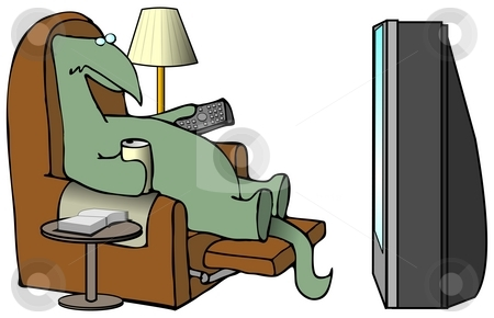 Dinosaur Watching TV stock photo, This illustration depicts a dinosaur sitting in a recliner watching television. by Dennis Cox