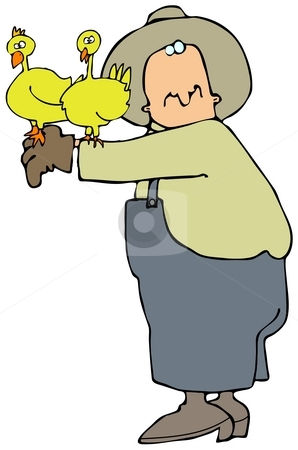 Chicken Farmer stock photo, This illustration depicts a farmer in overalls with two chickens perched on his arm. by Dennis Cox