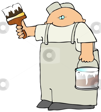 Painter Man stock photo, This illustration depicts a professional painter with a bucket and brush. by Dennis Cox