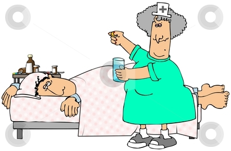 Sick Patient stock photo, This illustration depicts a nurse giving a pill to a sick man in bed. by Dennis Cox