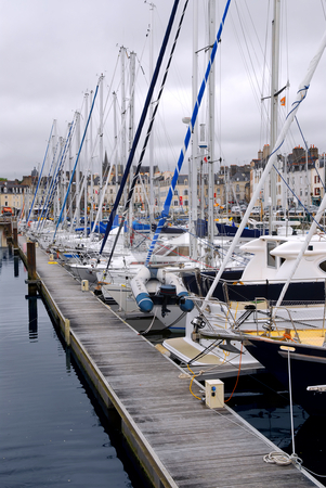 Harbor in Vannes, France stock photo, Sailboats moored in the harbor in Vannes, Brittany, France by Elena Elisseeva