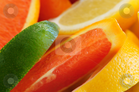 Citrus wedges stock photo, Wedges of assorted citrus fruits lemon orange and lime by Elena Elisseeva