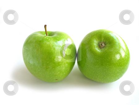 Green apple white stock photo, Two green apples on white background by Elena Elisseeva