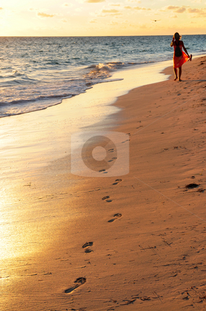 Woman walking on beach  stock photo, Woman walking on tropical beach at sunrise by Elena Elisseeva