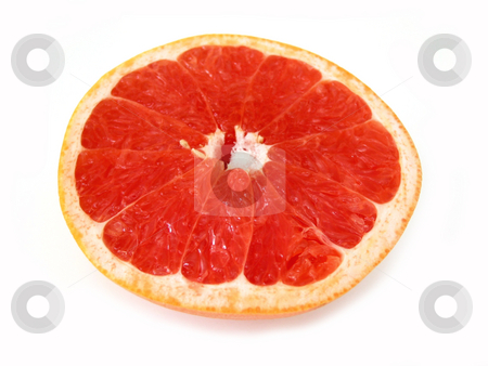 Grapefruit half stock photo, Half of ruby red grapefruit isolated on white background by Elena Elisseeva