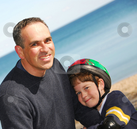 Father and son stock photo, Portrait of father and son outside by Elena Elisseeva