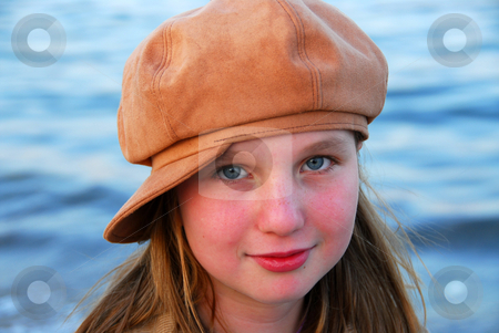 Girl child hat stock photo, Portrait of a cute girl in suede hat by Elena Elisseeva
