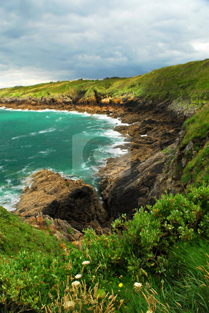 Brittany coast stock photo, Rugged beauty of rocky Atlantic ocean coast in Brittany, France by Elena Elisseeva