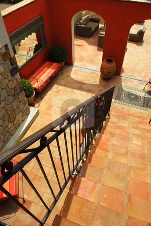 Courtyard of a villa stock photo, Courtyard of mediterranean villa in French Riviera by Elena Elisseeva