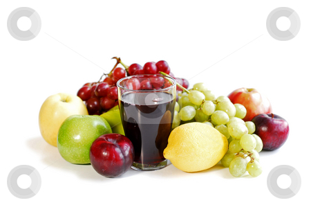 Assorted fruits on white stock photo, Assorted fruits and a glass of fruit juice on white background by Elena Elisseeva
