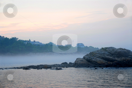 Rocky misty coast stock photo, Rocky misty coast of Atlantic ocean in Maine, USA by Elena Elisseeva