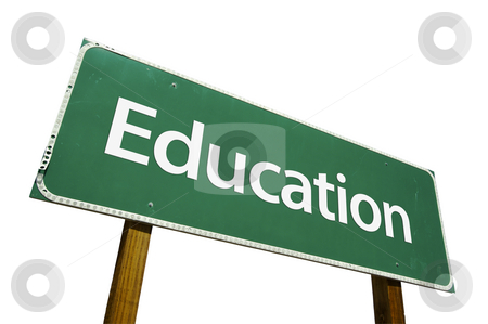 Education Road Sign with Clipping Path stock photo, Education Road Sign isolated on White with Clipping Path by Andy Dean