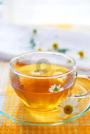 Camomile tea stock photo, A teacup with soothing herbal camomile tea by Elena Elisseeva