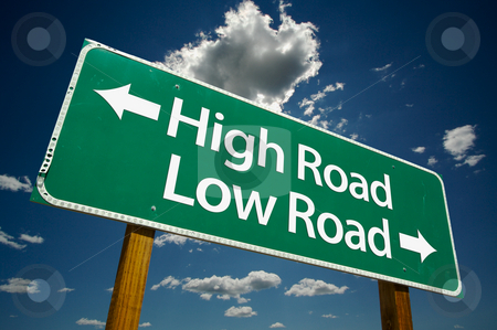 High Road, Low Road  - Road Sign stock photo, High Road, Low Road  - Road Sign with dramatic clouds and sky. by Andy Dean