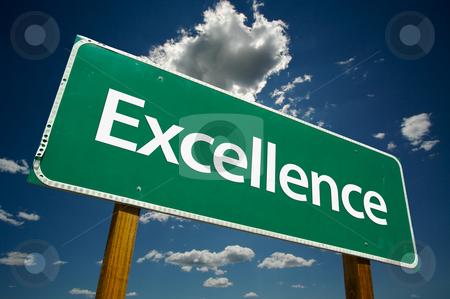 Excellence Road Sign stock photo, Excellence Road Sign with dramatic clouds and sky. by Andy Dean