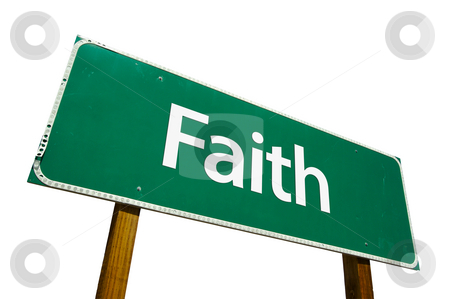Faith Road Sign with Clipping Path stock photo, Faith Road Sign isolated on White with Clipping Path by Andy Dean