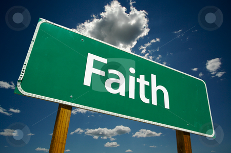 Faith Road Sign stock photo, Faith Road Sign with dramatic clouds and sky by Andy Dean