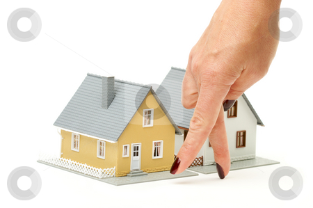 House Shopping stock photo, Female hand gesturing house shopping isolated on a white  background. by Andy Dean