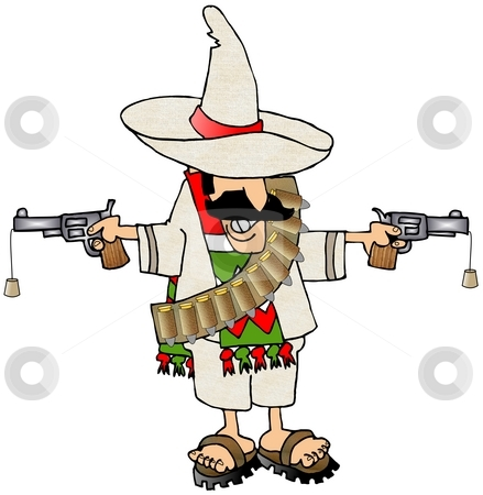 Bandido stock photo, This illustration depicts a Mexican bandido with two cork guns. by Dennis Cox