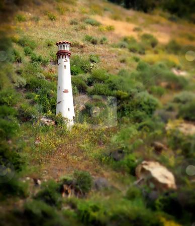 Laguna Beach Light Tower stock photo, Small white light tower in Laguna Beach California by Henrik Lehnerer