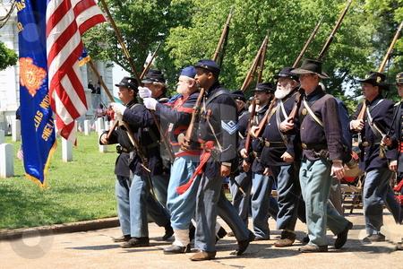 Memorial Day  Celebration stock photo, Civil war solders marching at memorial day celebration Marietta Ga memorial cemetery by Jack Schiffer