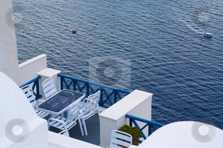 Breathtaking Balcony stock photo, Santorini Greece Balcony and View. by Andy Dean