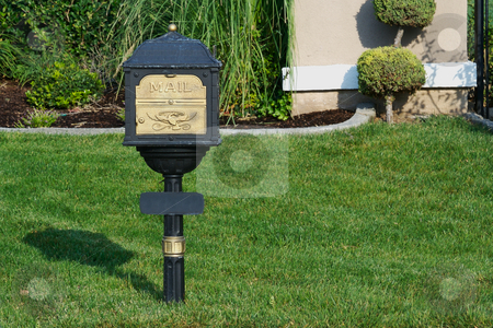 Classic Mailbox stock photo, Classic Mailbox in Lush Green Grass by Andy Dean