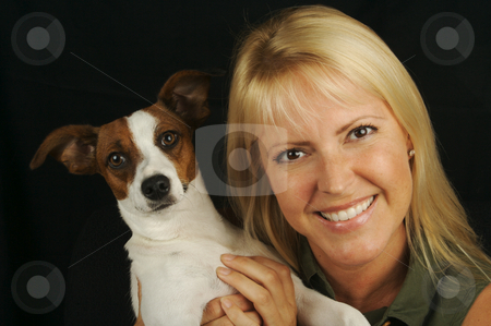 Attractive Woman & JRT stock photo, Attractive Woman Holds Her Jack Russell Terrier Dog by Andy Dean