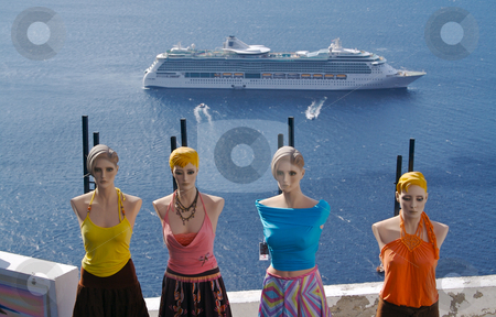 Santorini Mannequins stock photo, Overlooking the Mediterranean Ocean and four mannequin friends. by Andy Dean