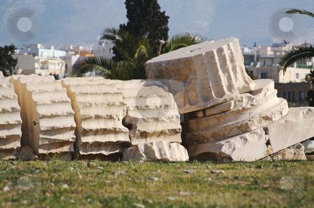 Ancient Fallen Roman Column stock photo, Ancient Fallen Roman Column from Athens, Greece by Andy Dean