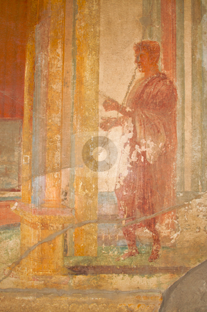 Fresco Ruins of Pompeii stock photo, Ancient Fresco from the walls of the Pompeii, Italy ruins. by Andy Dean