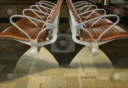 Airport Seating Abstract stock photo, Abstract image of stylish designed waiting room seating at an airport. by Andy Dean