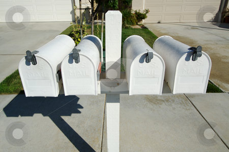 Rural Mailboxes stock photo, Row of Rural Mailboxes by Andy Dean