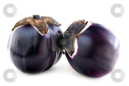 Eggplants stock photo, Two round eggplants (prosperosa) isolated on white background by Elena Elisseeva