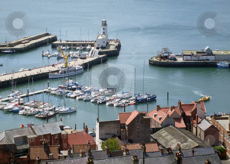 Scarborough Harbour stock photo, Old town and harbor in resort of Scarborough, England. by Martin Crowdy